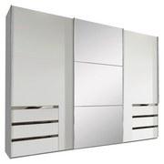 Schwebetürenschrank mit Spiegel + Laden 300cm Level 36a, Weiß - Weiß, MODERN, Glas/Holzwerkstoff (300/216/65cm) - MID.YOU
