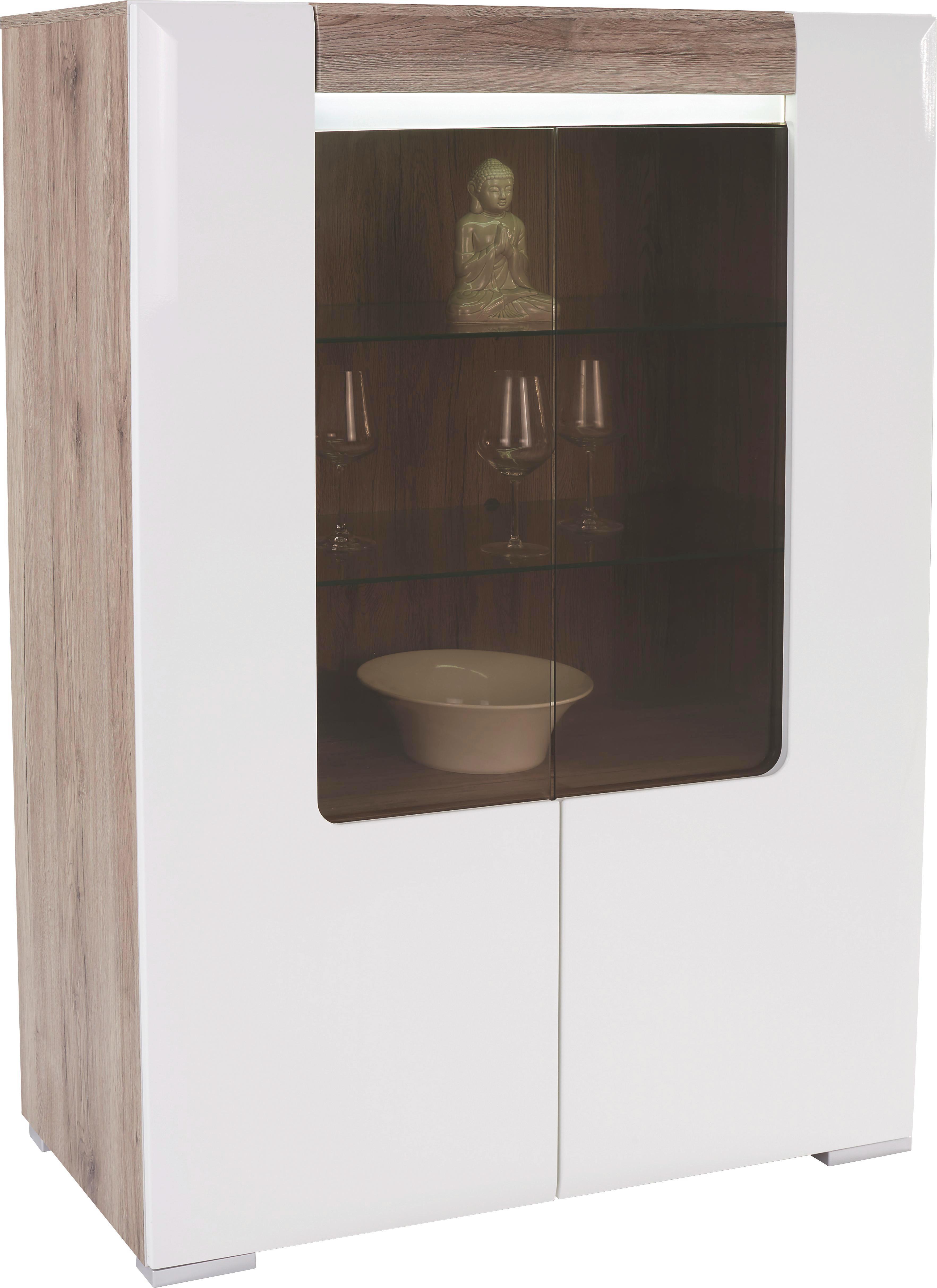 Vitrin Toronto - tölgy színű/fehér, modern, üveg/faanyagok (100/146/42,2cm) - OMBRA