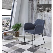 Armlehnstuhl Linda Grau Gepolstert - Schwarz/Grau, MODERN, Textil/Metall (60/80/58cm) - MID.YOU