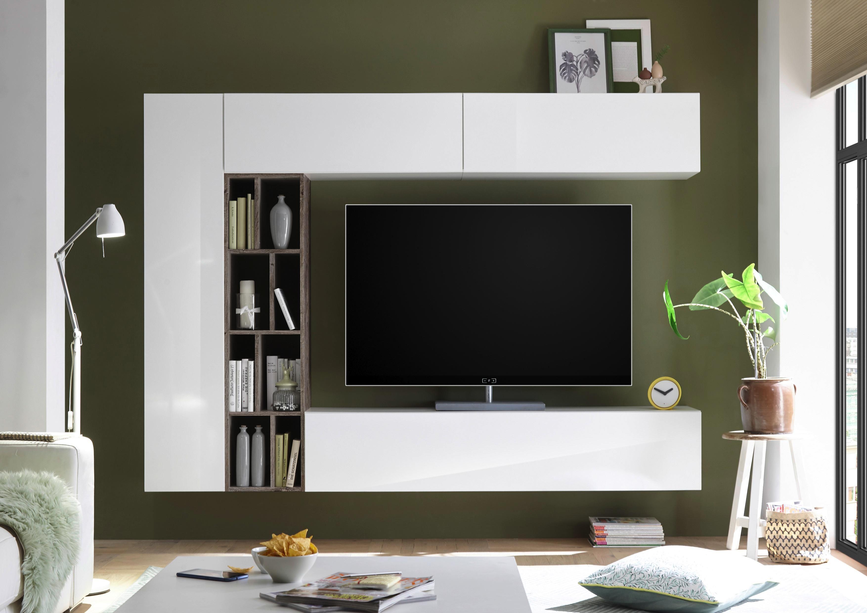 Obývací Stěna New Vision 7 - bílá/barvy dubu, Moderní, kompozitní dřevo (224/185/35cm)
