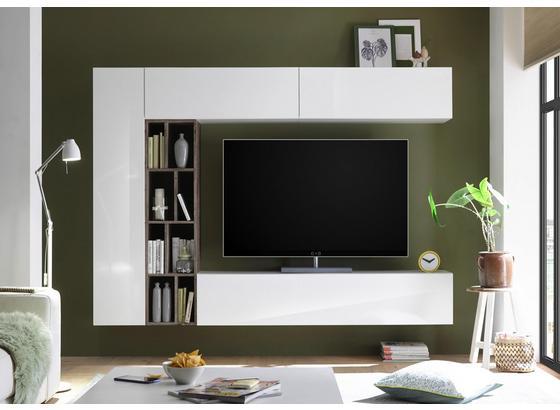 Obývacia Stena New Vision 7 - farby dubu/biela, Moderný, kompozitné drevo (224/185/35cm)