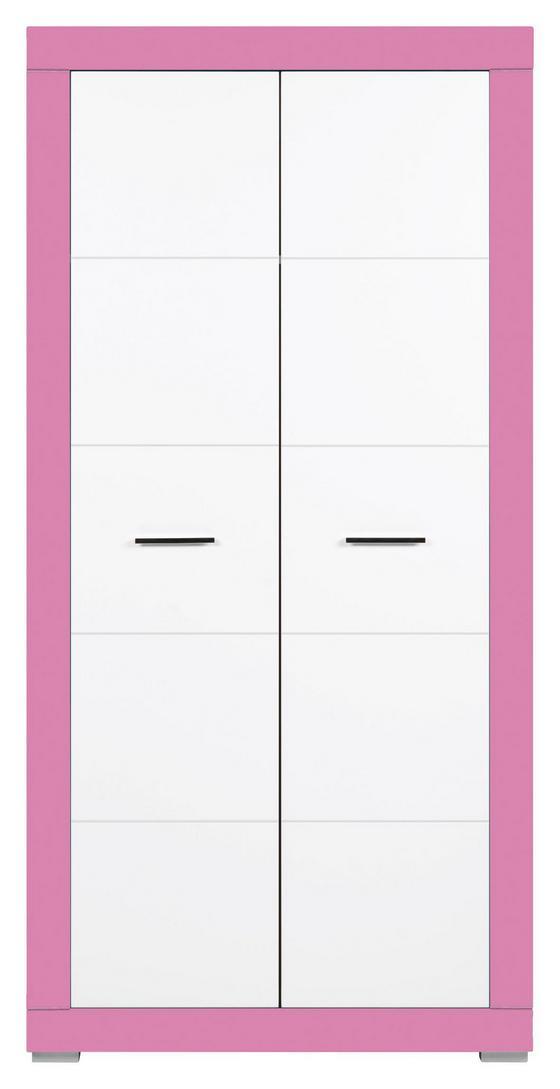 Skříň Derby - bílá/růžová, Moderní, dřevěný materiál (96/196/56cm)
