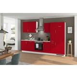 Küchenblock Turin 310 cm Signalrot - Rot/Hellgrau, LIFESTYLE, Holzwerkstoff (310cm) - Qcina