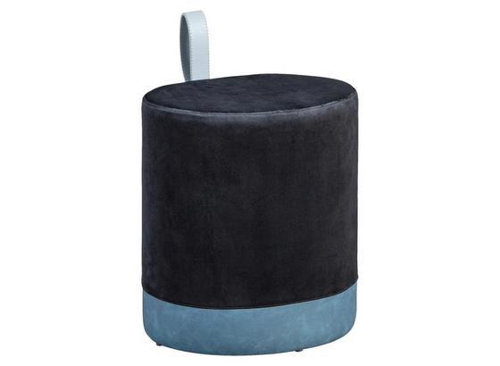Hocker Osane B: 38 cm Schwarz/Blau - Blau/Schwarz, Basics, Holzwerkstoff/Kunststoff (38/43/32,5cm) - Livetastic