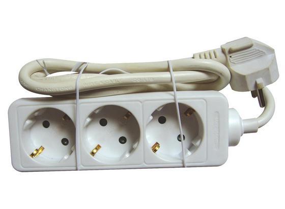 Steckdosenleiste 3-fach - Weiß, KONVENTIONELL, Kunststoff (140cm) - Homezone
