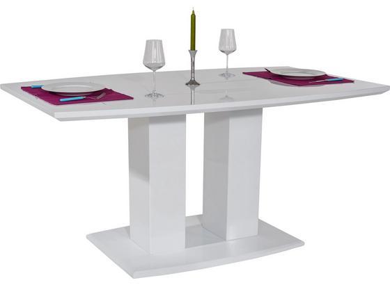 Esstisch Malvin 160cm Weiß Hochglanz - Weiß, MODERN, Holzwerkstoff (160/76/90cm)