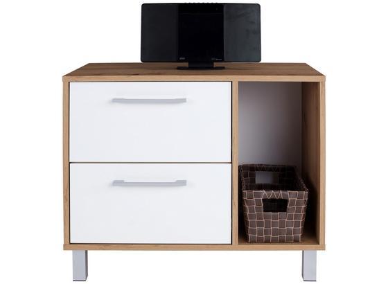 Kommode mit Soft-Close B 75cm Box, Artisan Eiche Dekor/Weiß - Eichefarben/Alufarben, MODERN, Holzwerkstoff (75/60/40cm) - Ombra