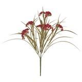 Kunstblume Gras mit Fruchtstand Grün/Rot - Dunkelgrün/Rot, MODERN, Kunststoff (44cm)