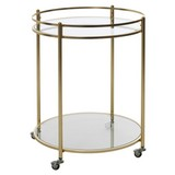 Servierwagen James D: ca. 57cm - Goldfarben, Design, Glas/Metall (57/75/75cm) - MID.YOU