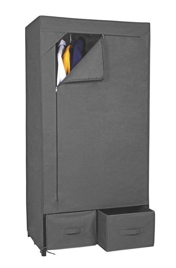 Schrank Ritsch-ratsch - Dunkelgrau, MODERN, Textil/Metall (80/160/50cm)