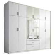 Drehtürenschrank mit Spiegel + Laden 275cm Hildesheim, Weiß - Weiß, Design, Holzwerkstoff (275/231/56cm) - MID.YOU