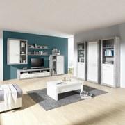 Komoda Highboard Malta - sivá/biela, Moderný, drevený materiál (96/132/35cm)