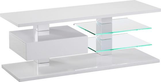 Médiaállvány Wien - fehér, modern, üveg/faanyagok (120/45/42cm)