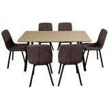 Tischgruppe Zürs - Eichefarben/Schwarz, MODERN, Holzwerkstoff/Textil (160/47cm)