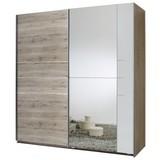 Schwebetürenschrank Stripe B: 180 cm - Eichefarben/Weiß, MODERN, Holzwerkstoff (180/198/64cm) - Carryhome