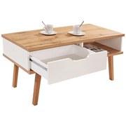 Couchtisch Turin 6 mit Schublade und Ablagefach - Eichefarben/Weiß, MODERN, Holz/Holzwerkstoff (110/50/50cm)