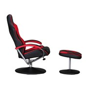 Fernsehsessel Sporting B: 69 cm Schwarz/Rot - Rot/Silberfarben, MODERN, Textil/Metall (69/98/60cm) - MID.YOU
