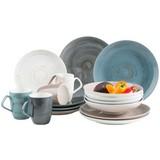 Kombiservice 16-Tlg Derby - Blau/Beige, Basics, Keramik (33/31,5/35cm) - Mäser