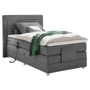 Boxspringbett mit Topper + Motorverstellung 100x200 Saba - Silberfarben/Grau, Basics, Holzwerkstoff/Textil (100/200cm) - MID.YOU