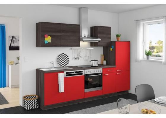Kuchenzeile Win Plan 280 Cm Rot Eiche Grau Online Kaufen Mobelix