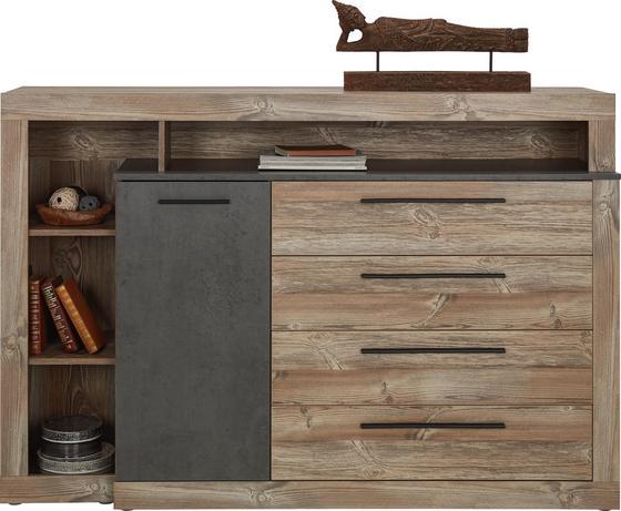 Komoda Sideboard Chanton - barvy borovice/tmavě šedá, Lifestyle, kov/kompozitní dřevo (160,5/107,3/43,4cm) - Based