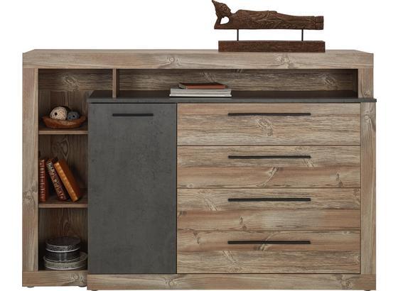 Komoda Sideboard Chanton - farby borovice/tmavosivá, Štýlový, umelá hmota/kov (160,5/107,3/43,4cm) - Based