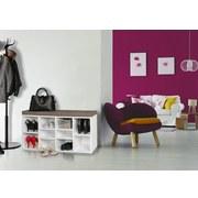 Schuhbank Laura B: ca. 103,5 cm Weiß - Weiß/Braun, KONVENTIONELL, Holzwerkstoff/Textil (103,5/53/30cm) - Livetastic