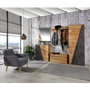 Garderobenbank Venedig - Eichefarben/Schwarz, MODERN, Holzwerkstoff (90/45/38cm)