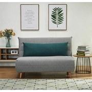 Schlafsofa mit Bettfunktion und Kissen Simon - Blau/Naturfarben, MODERN, Holz/Textil (125/84/91cm) - Ombra