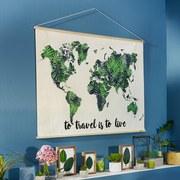 Nástenná Dekorácia World - prírodné farby/zelená, umelá hmota/drevo (120/80cm) - Mömax modern living