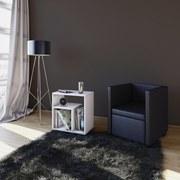 Beistelltisch Zeito B: 50 cm - Schwarz/Weiß, Basics, Holzwerkstoff (50/55/30cm)