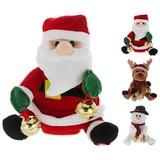 Weihnachts-Plüschfigur mit Musik - Rot/Braun, KONVENTIONELL, Textil (13,5/18,5/12cm)