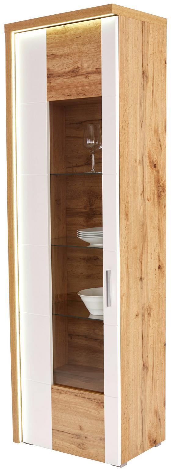 Vitrin Eleganza - tölgy színű/fehér, modern, üveg/faanyagok (65/201,3/38cm)