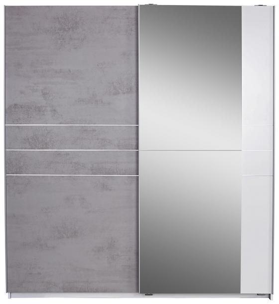 Skriňa S Posuvnými Dvermi Stripe - sivá/biela, Moderný, drevo/kompozitné drevo (180/198/64cm)