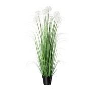 Kunstpflanze H: 128 cm Weiß - Schwarz/Weiß, MODERN, Kunststoff (128cm) - MID.YOU