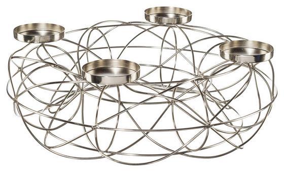 Adventkranz Ø 40 cm - Silberfarben, MODERN, Metall (40mm)