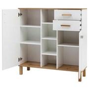 Highboard B 105,6cm Padua, Weiß - Eichefarben/Weiß, Basics, Holzwerkstoff (105,6/115/35cm) - Livetastic