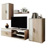 Wohnwand Modern 4 Tlg. Berno Eiche Dekor/Weiß - Schwarz/Weiß, Basics, Holzwerkstoff (190/150/40cm)