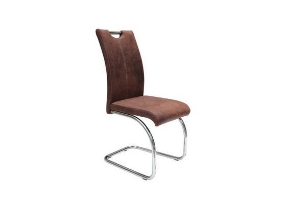 Houpací Židle Moni - tmavě hnědá, Moderní, kov/textil (43/96/58cm)