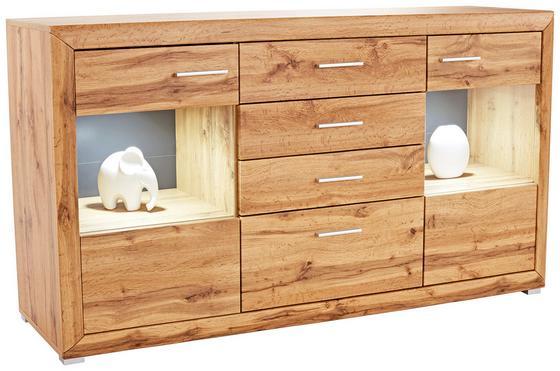 Komoda Sideboard Tizio - barvy dubu, Moderní, dřevěný materiál/sklo (179,4/86,8/41cm)