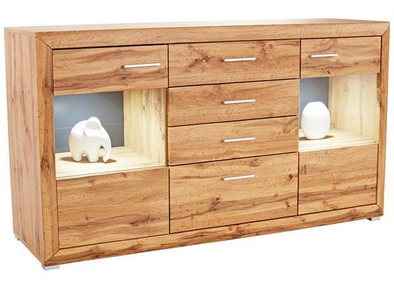 Komoda Sideboard Tizio - barvy dubu, Moderní, kompozitní dřevo/sklo (179,4/86,8/41cm)