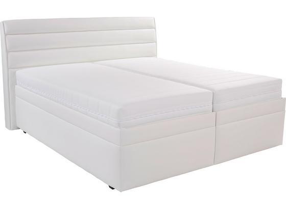 Boxspringbett mit Bettkasten 180x200cm Olympie, Weiß - Weiß, MODERN, Kunststoff (180/200cm)