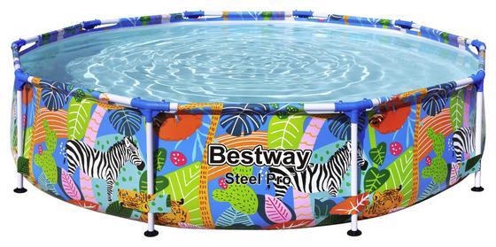 Bunter Pool mit Stahlrahmen