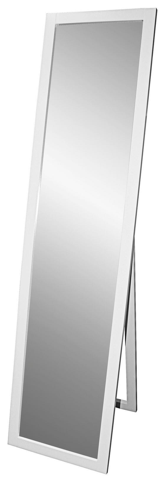 Stojacie Zrkadlo Meggy - biela, Moderný, drevený materiál/drevo (40/160/3,8cm)
