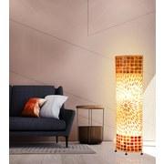Stehlampe Muschel Braun, Textil mit Ornamenten - Braun, MODERN, Naturmaterialien/Textil (36,5/17/149cm)