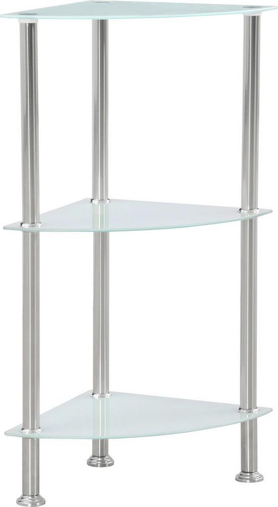 Polc Glare - fehér/nemesacél színű, modern, üveg/fém (30/70/30cm) - LUCA BESSONI