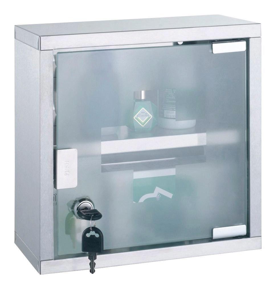 Medizinschrank First Aid - Edelstahlfarben, KONVENTIONELL, Glas/Metall (25/25/12cm)