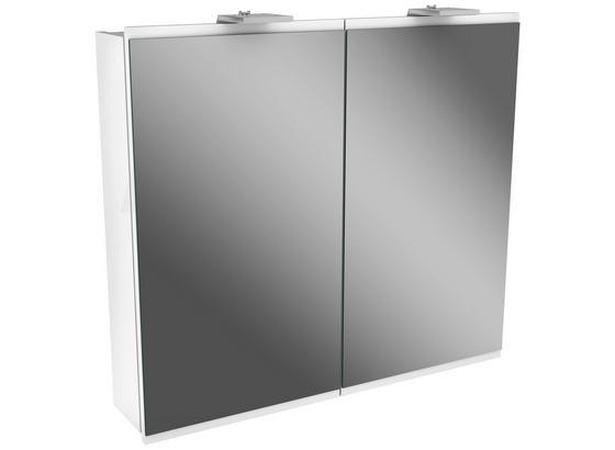 Spiegelschrank mit Türdämpfer + Led Lima B: 80cm Weiß - Weiß, MODERN, Glas/Holzwerkstoff (80/73/15,5cm) - Fackelmann