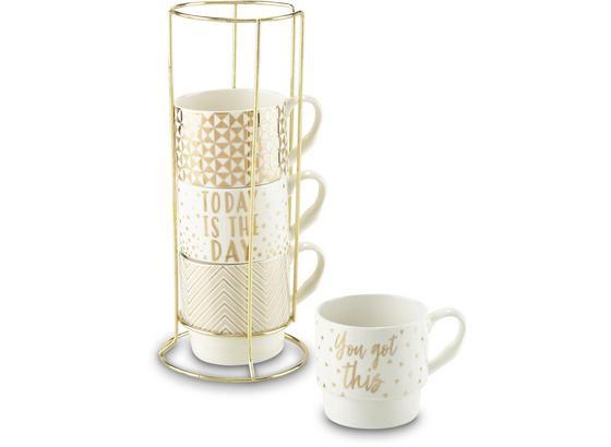 Šálka Na Kávu Goldy - biela/zlatá, Moderný, kov/keramika (8,8/8,5cm) - Premium Living