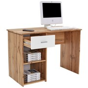 Schreibtisch Kubek 2 - Eichefarben/Weiß, MODERN, Holzwerkstoff (110/75/50cm)